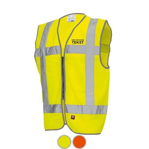 vlamvertragend-vest-geel-bolletjes-eigenopdruk